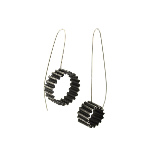 Asymmetrical Industrial Ribbed Sterling Silver Drop Earrings