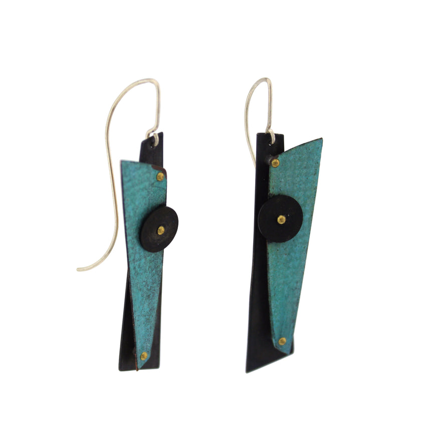 Blue Prisma Crayon and Black Silver Earrings, Denim colored Earrings, Blue and black earrings, Kinetic earrings