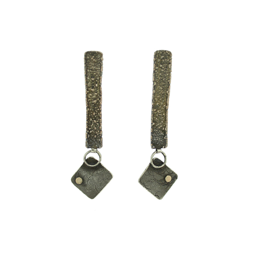 Schibuichi silver with gold dot earrings
