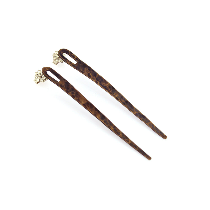 Long brass spike studs, hammered finish, tribal earrings