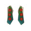 Tropical red bead with a blue and green crayon base, statement earrings