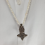 Long Pearl Strand with Ethiopian Silver Cross, Ethiopian Cross Necklace, Vintage Silver Ethiopian Cross Necklace