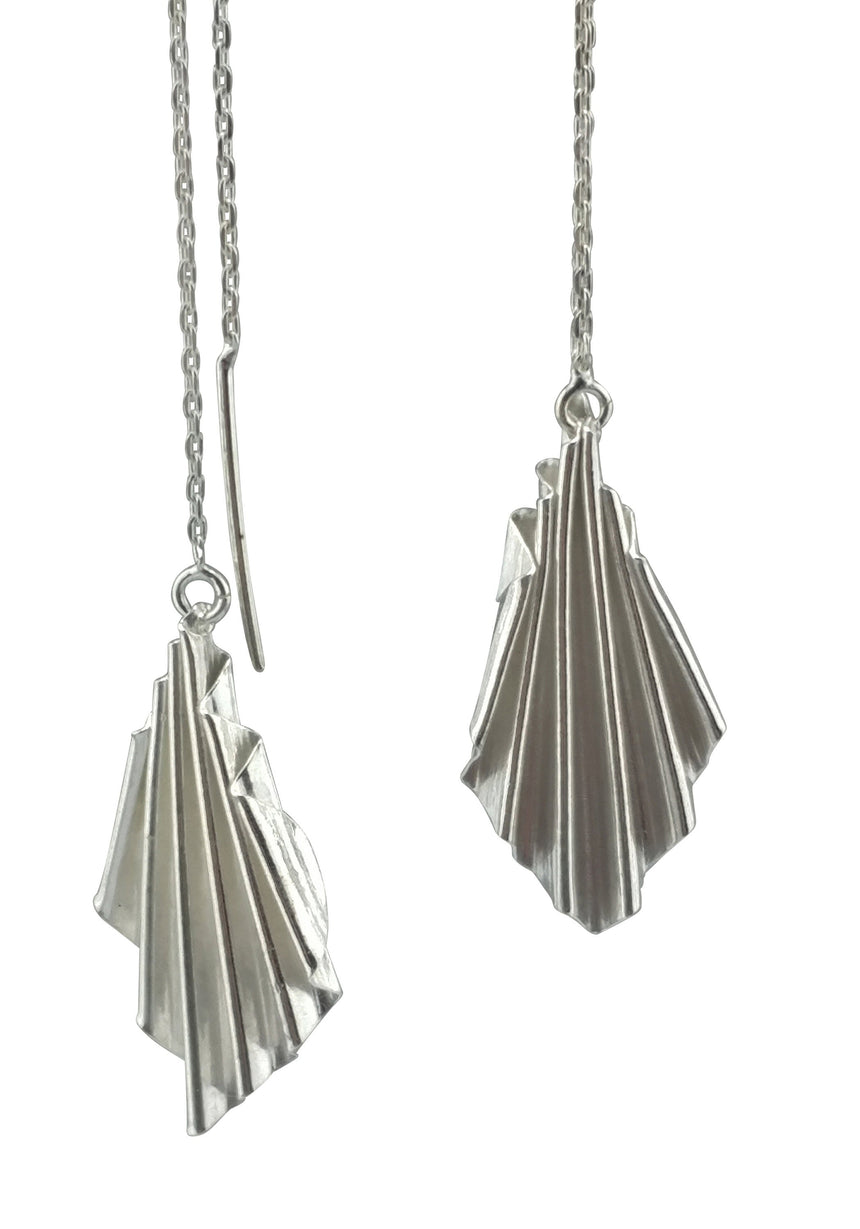 Silver Ruffle Ear Chains, Kinetic Fold Forms Silver Earrings, Fold Form Earrings, Fine Silver Earrings