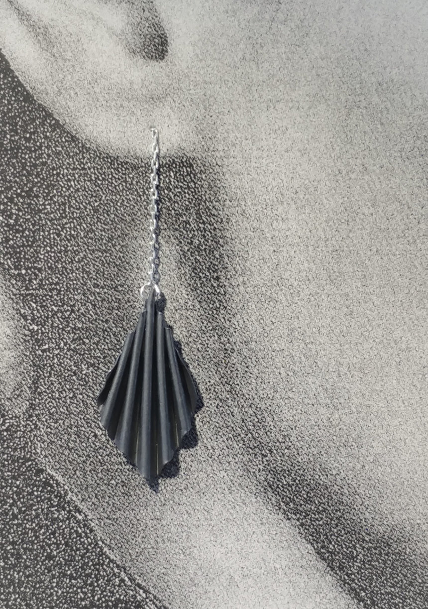Blackened Silver Ruffle Ear Chains,  Kinetic Fold Formed Silver Earrings, Fold Form Earrings, Fine Silver Earrings