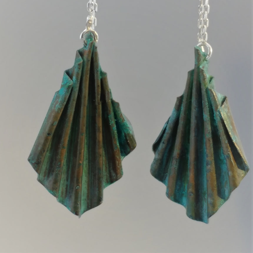 Copper Green Ruffle on Silver Ear Chains.  Light Weight, Casual, Hobo Earrings