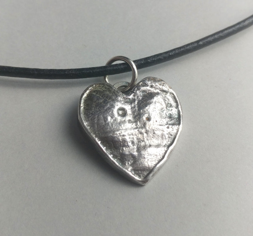 Reclaimed Rustic Silver Heart Pendant on Leather Cord