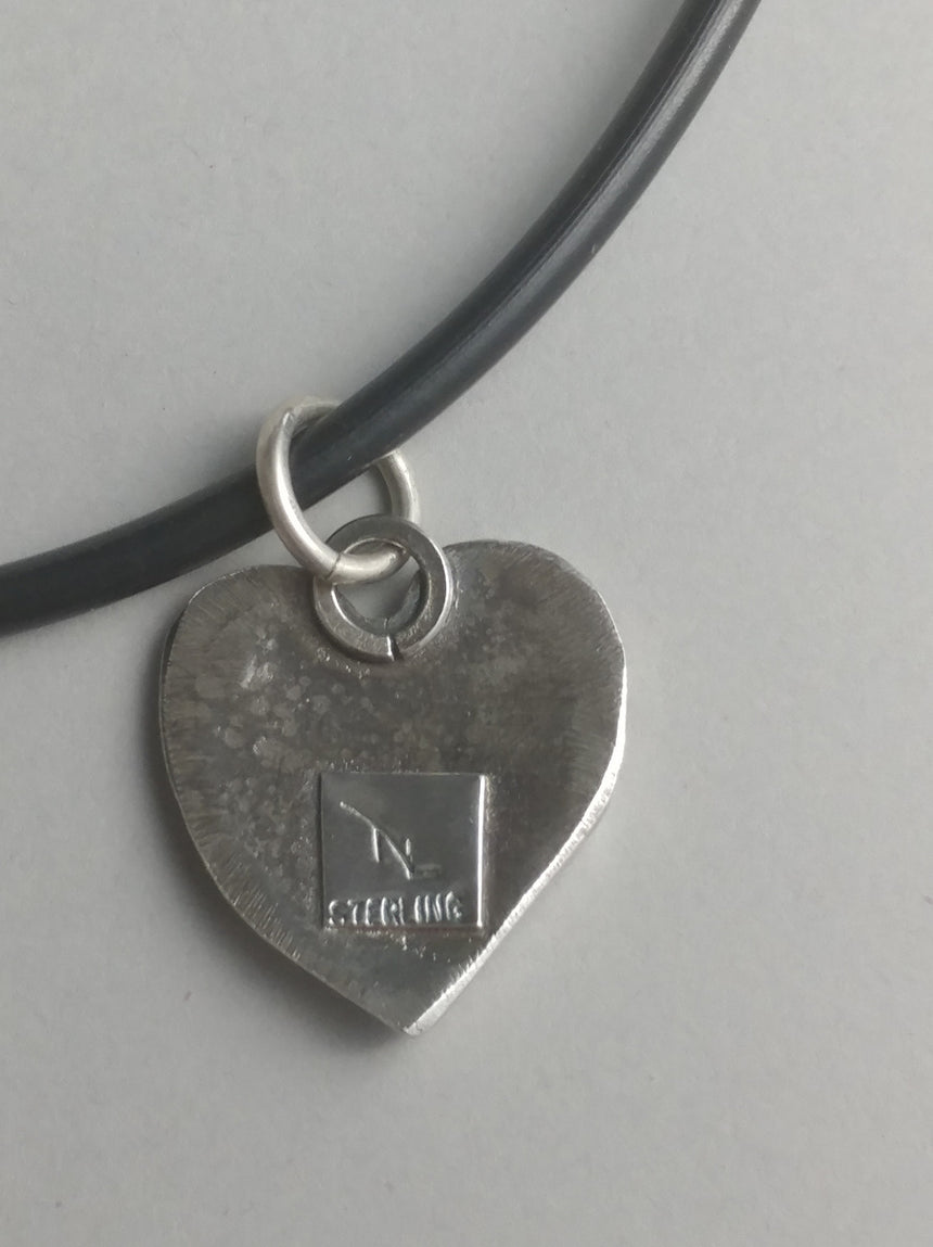 Recycled Silver Heart Ridged Pendant on Rubber Cord with Silver Clasp