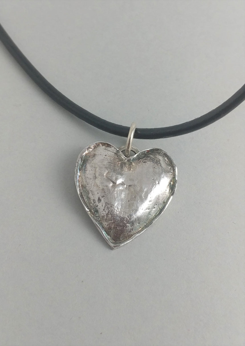 Puffy Recycled Silver Heart Pendant on Leather Cord with Silver Clasp