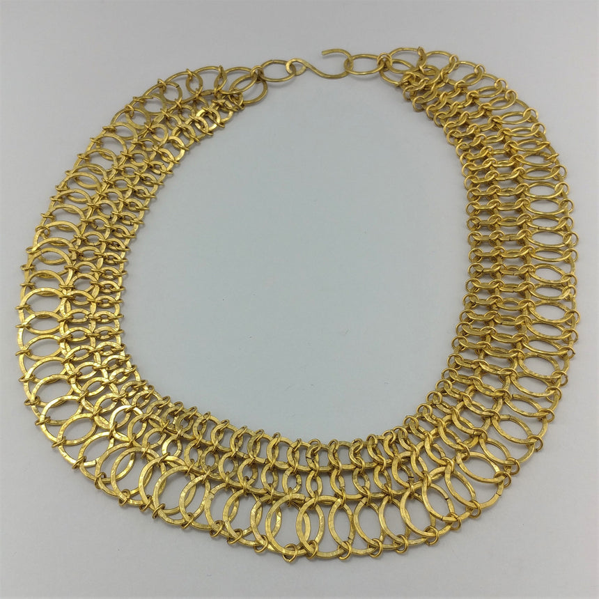 Egyptian Style Neck Collar; Brass Chainmaille Necklace, Statement Necklace