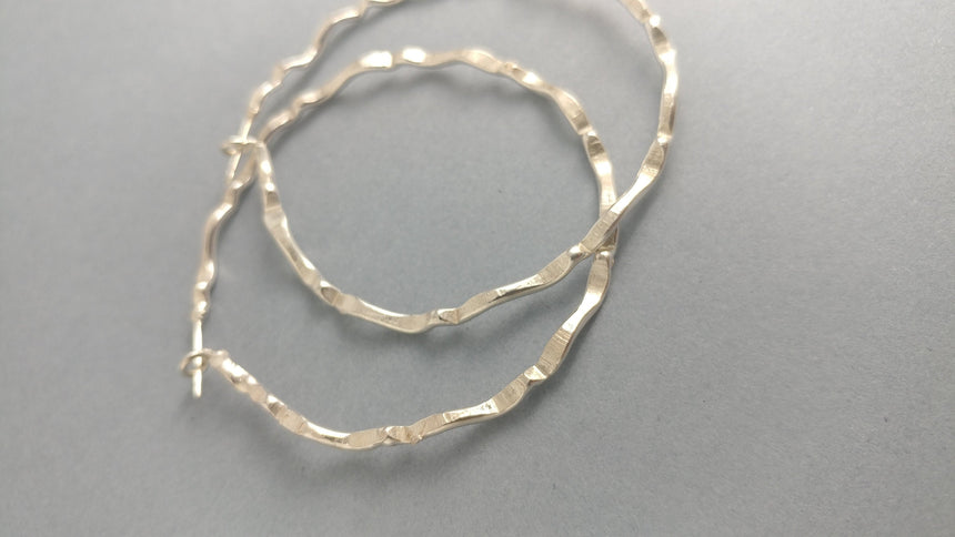 Sterling Silver Hoop Earrings with a choppy wave pattern, Hoop Earrings, Silver Hoops