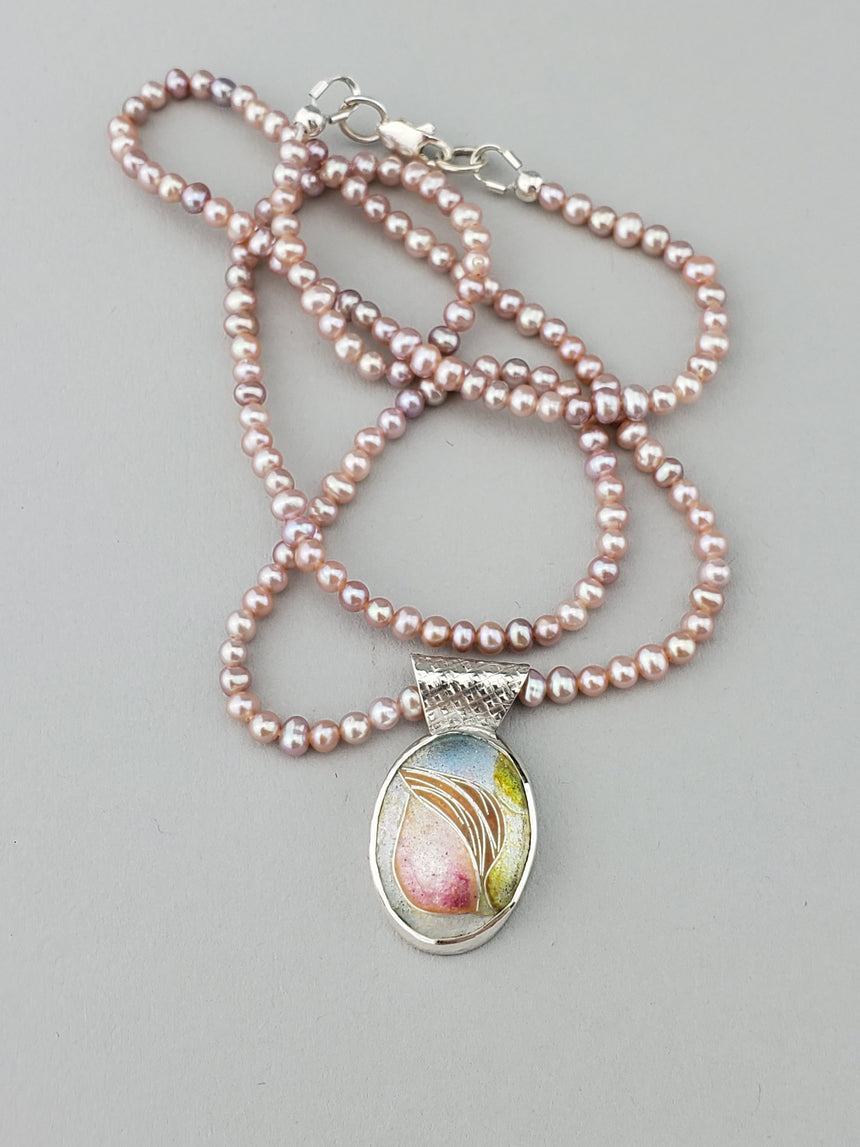 Delicate, Dainty and Feminine Rosebud enamel pendant charm on pink fresh water pearl necklace, set in Sterling and Fine Silver, Pink Pendant, Soft Pink Necklace