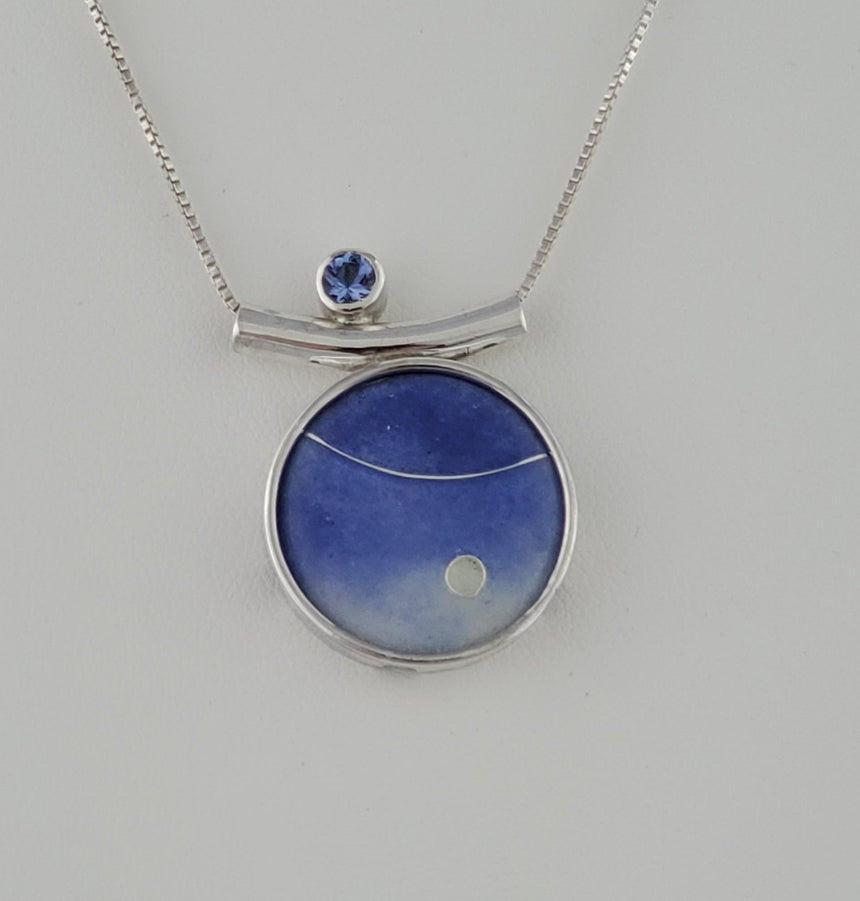 Tanzanite Enamel Pendant accented with a 4mm Tanzanite Stone on a Silver Box Chain, Set in Sterling and Fine silver, Delicate and Ethereal