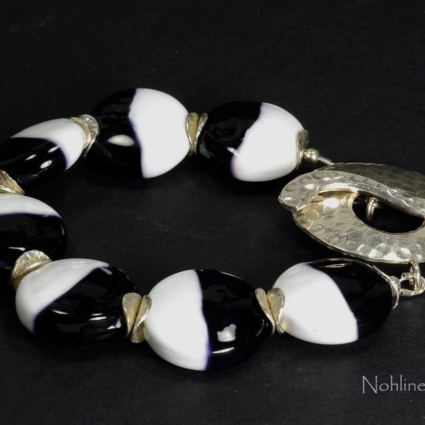 Elegant Black and White Lampwork Statement Bracelet, Handmade Sterling Silver Caps and Clasp, Unique B&W Bracelet,