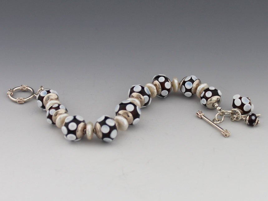 Brown with White Dots and Pearls Bracelet, Brown Lampwork Beads, Freshwater Pearls, Sterling Silver Caps and Clasp, Elegant and Classic