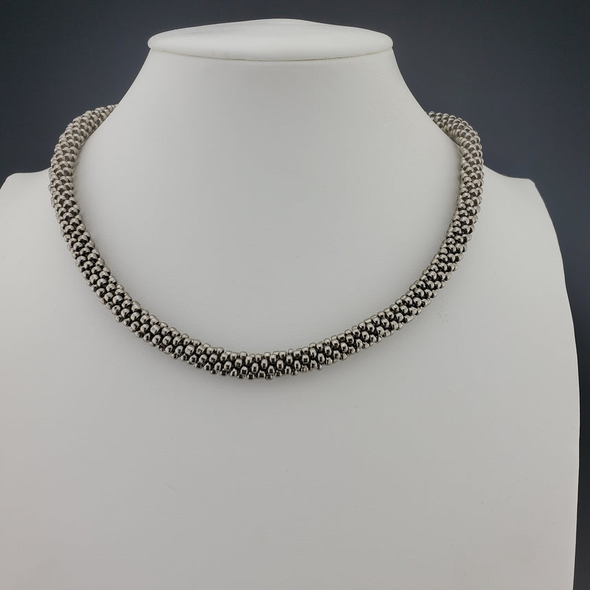 Silver Beaded Kumihimo Necklace, Silver Necklace, Woven Necklace, Sterling Clasps