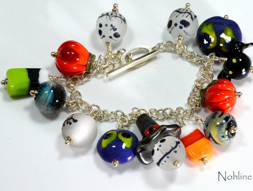 Fun HaLLoWeeN Lampwork Charm Bracelet, Ghosts, Goblins, Bats, Witch, Pumpkins, Candy Corn,  Fine and Sterling Silver, Scare away in style!