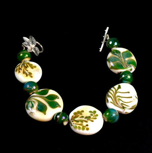 The Ferns, Organic Emerald Green on Ivory Glass Bracelet, Nature Inspired Lampwork Bracelet, Ferns, Leaves, Forest Green Using Rare Glass