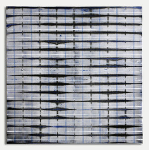 Jean Wolff - Blue Fold White and Blue Lines