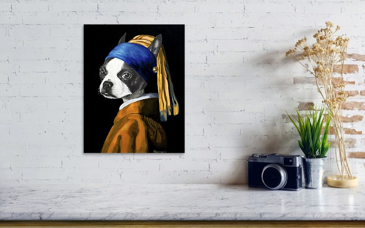 Courtney Kenny Porto - The Dog with a Pearl Earring - Watercolor Paper