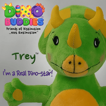 "DINO-BUDDIES - 'TREY the Triceratops' Cute Dinosaur Plush Toy, Stuffed Animal (8"")"
