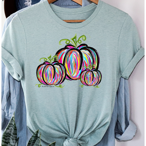 3 Painted Pumpkins on Sage CrewNeck (Fits True to Size)