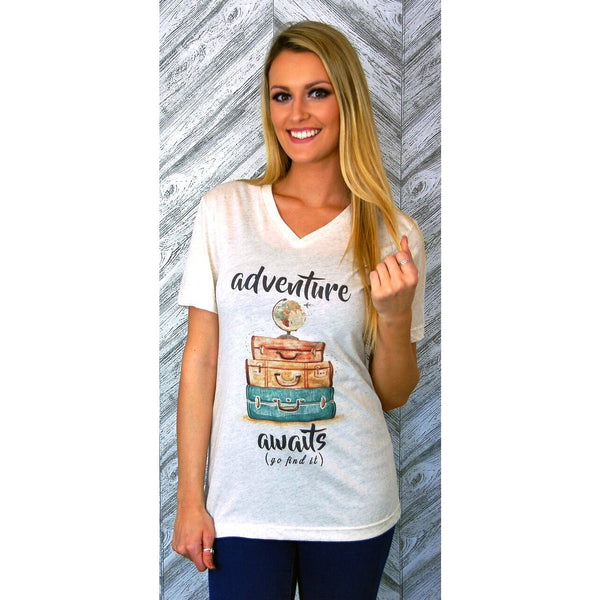 Adventure Awaits on Oatmeal V-Neck Tee (Unisex Sizing)