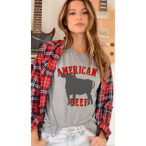 American Beef on Grey Crew Neck (Fits True to Size)