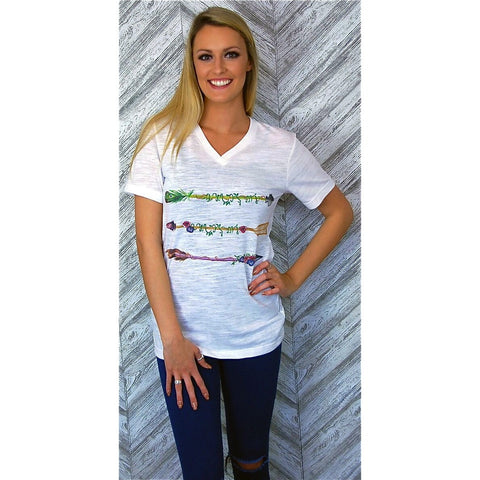 Watercolor Arrows on White V-Neck Tee (Unisex Sizing) Fits True to Size
