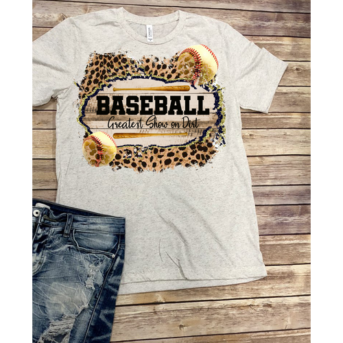 Baseball-Greatest Show on Dirt on Oatmeal Crewneck (Fits True to Size)