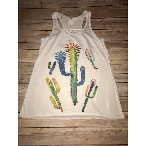 Cactus Collage on White Racerback Tank - Fits True to Size