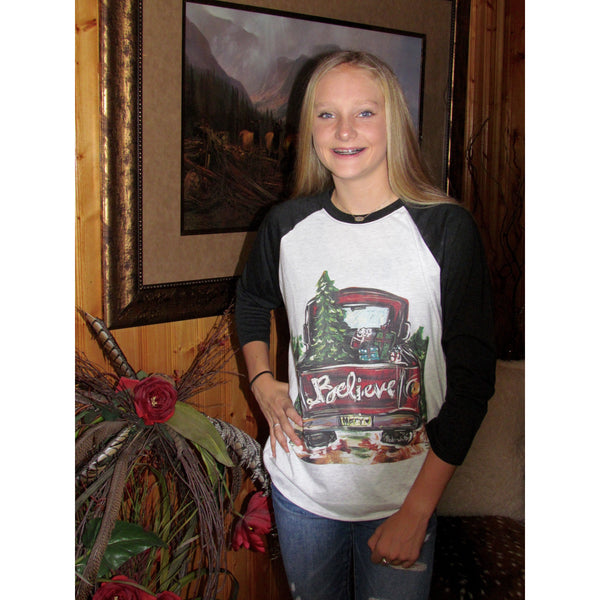 Christmas Truck on Black Raglan (Fits True to Size)