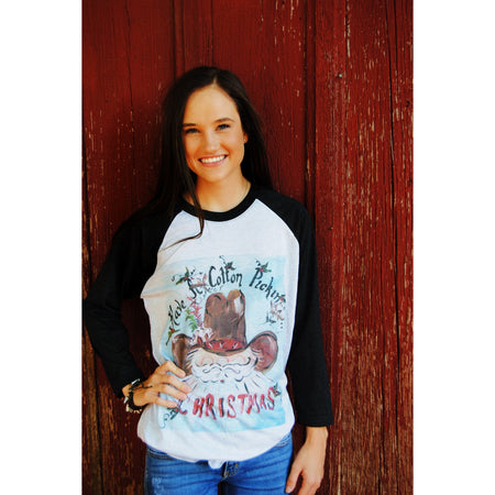 Christmas Pig on Green Raglan (Fits True to Size)