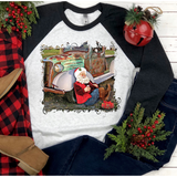 Country Santa on Black Sleeve Raglan (Fits True to Size)