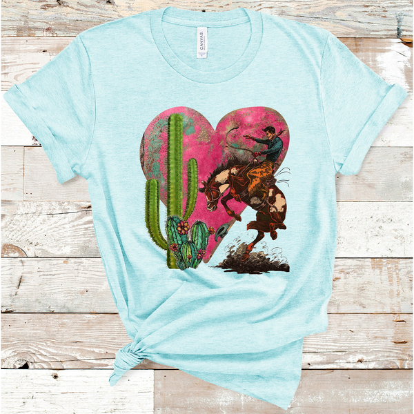 Cowboy Valentine on Ice Blue Crew Neck (Fits True to Size)