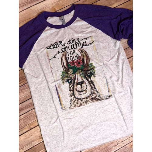 Drama Llama on Purple Sleeve Raglan (Fits True to Size)