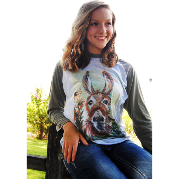 Original Hand Painted Donkey on Taupe Sleeve Raglan (Unisex Sizing)