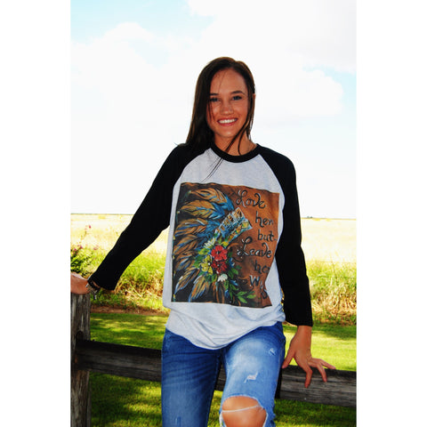 "Original Hand Painted ""Love Her But Leave Her Wild"" on Black Sleeve Raglan (Unisex Sizing)"