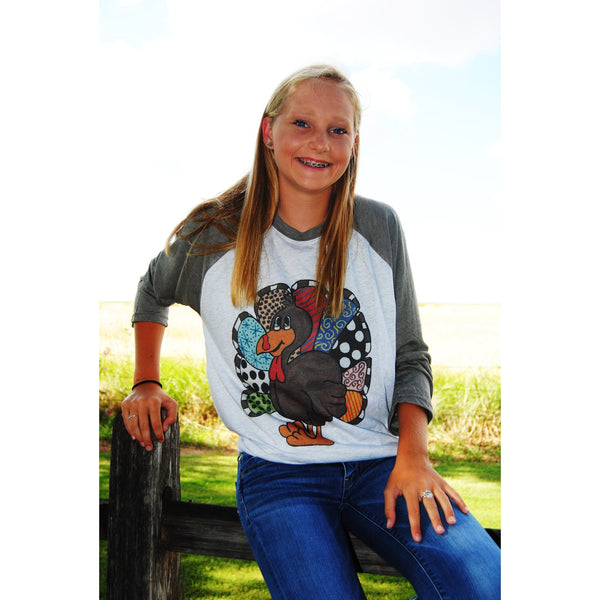 Hand-Painted Turkey on Taupe Raglan (Unisex Sizing)