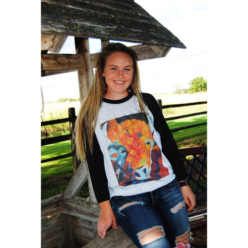 Hand Painted Abstract Buffalo on Black Sleeve Raglan (Unisex Sizing)