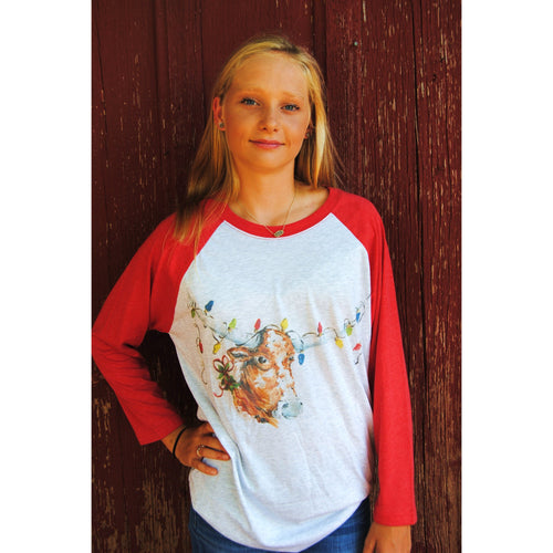 Longhorn w/Christmas Lights on Red Raglan (Unisex Sizing)
