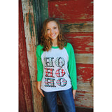 Ho Ho Ho on Green Raglan (Unisex Sizing-Runs True to Size)