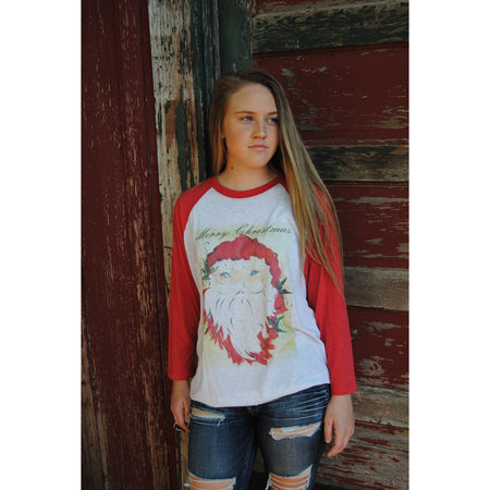 Christmas Light Snowman on Green Raglan (Unisex Sizing)