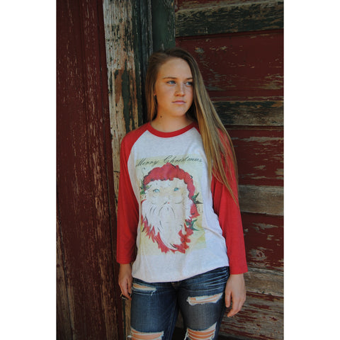 Vintage Merry Christmas Santa on Red Raglan (Unisex Sizing)