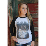 Ho Ho Howdy Santa on Black Raglan (Unisex Sizing)