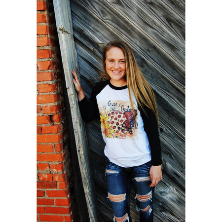 HandPainted COTTON~The Snow of the South Tee on an Oatmeal V-Neck Tee (Fits True to Size)