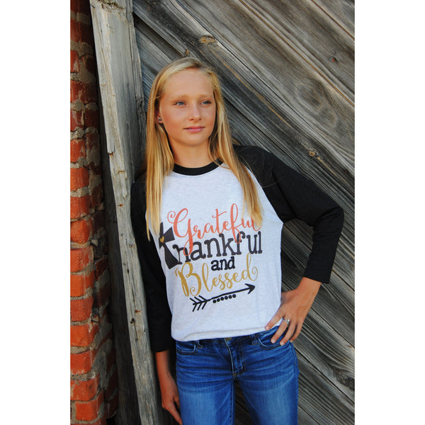 Grateful/Thankful/Blessed Raglan (Unisex Sizing)