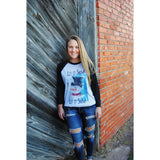 Let It Snow Hand Painted Snowman on Black Raglan (Unisex Sizing)