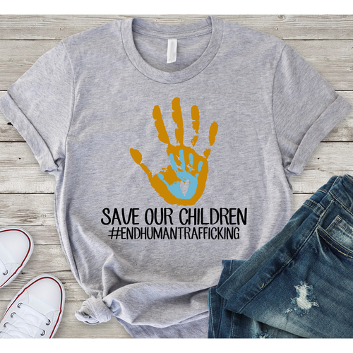 End Human Trafficking on Grey Crew Neck (Fits True to Size)