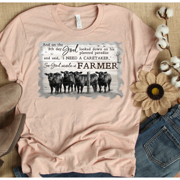 Farmer on Peach Crewneck (Fits True to Size)