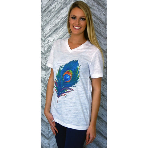 Peacock Feather on White Tee (Unisex Sizing) Fits True to Size